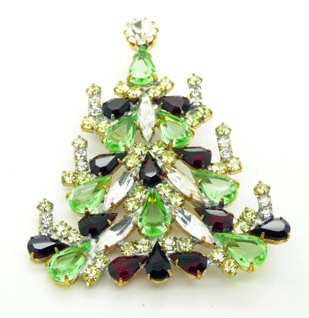 Czech Glass Candles Christmas Light Green and Dark Red Tree Brooch, Vintage Rhinestones Xmas Tree Pin - Vintage Lane Jewelry