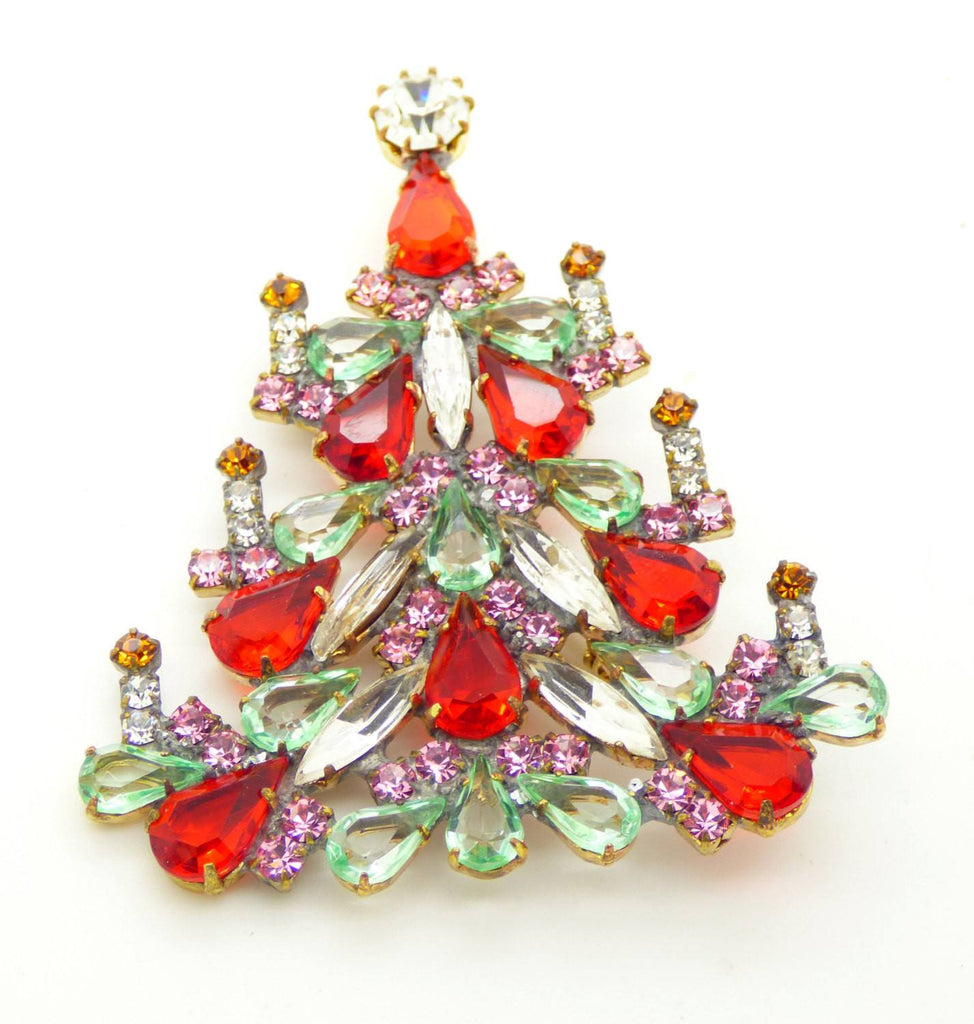 Czech Glass Candles Red, Lavender and light green Christmas Tree Brooch, Vintage Rhinestones Xmas Tree Pin - Vintage Lane Jewelry