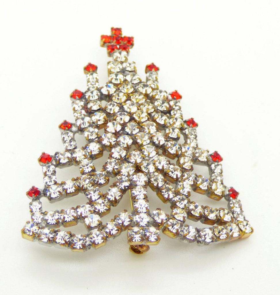 Czech Glass Clear Rhinestone Christmas Tree Brooch, Xmas Pin, Holiday Brooch - Vintage Lane Jewelry