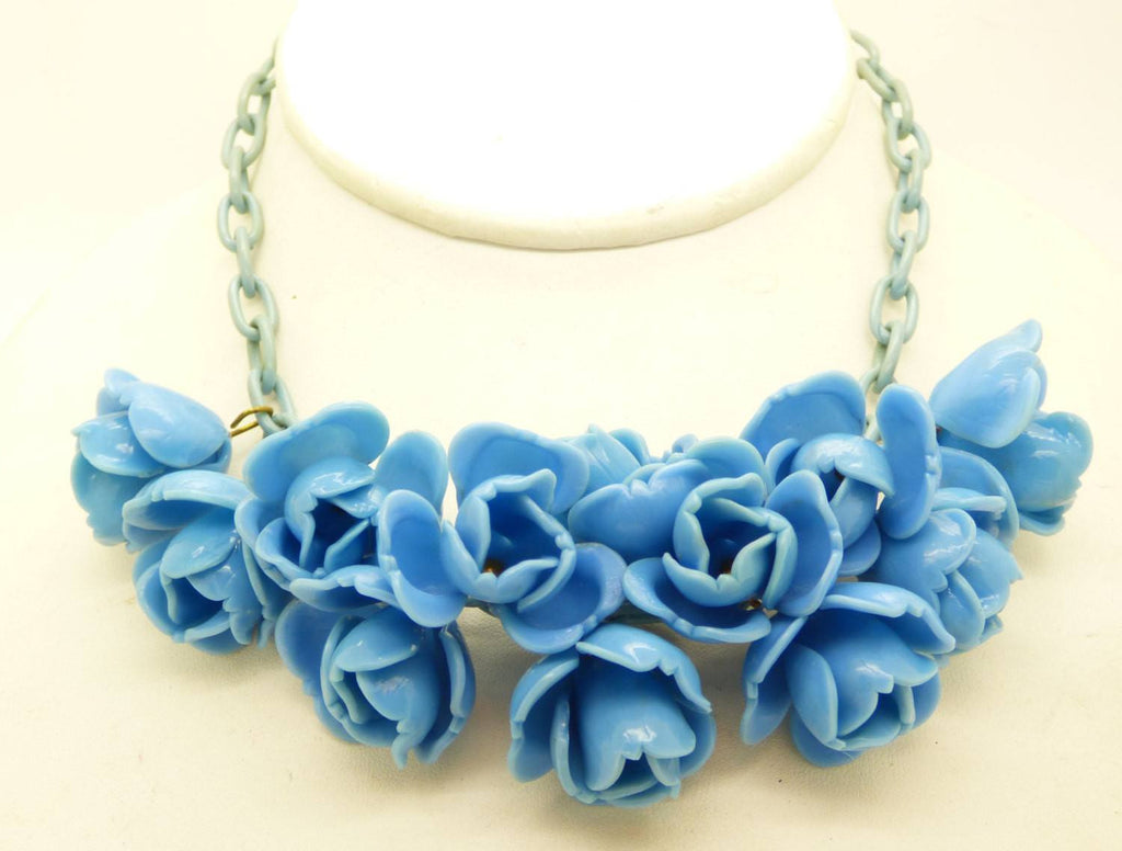 Blue Roses Early Plastic Celluloid Chain Necklace - Vintage Lane Jewelry - 1