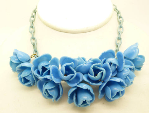 necklace brass raleigh and glass products vintage blue filigree
