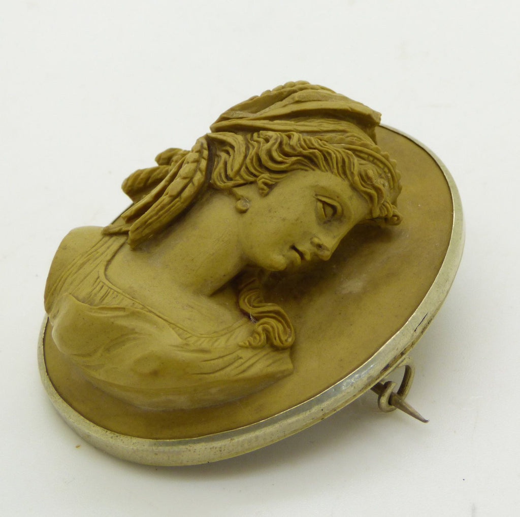 Antique High Relief Lava Cameo, Classical Greek Goddess - Vintage Lane Jewelry