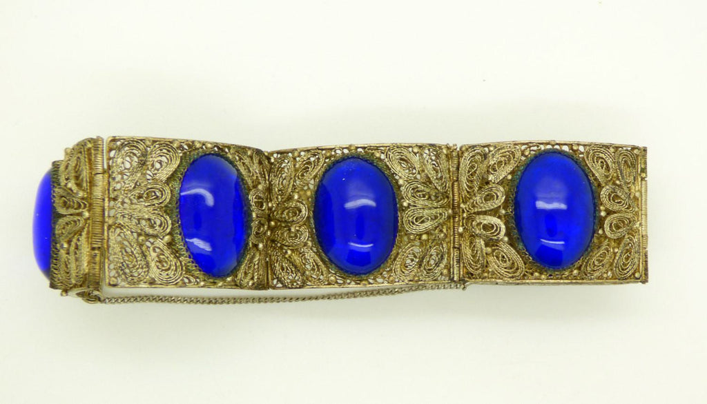 Chinese Export Blue Glass Cabochon 800 Silver Filigree Hinged Panel Bracelet - Vintage Lane Jewelry
