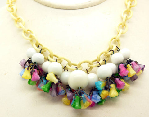 Statement Necklace Husar D. Pink, Purple and Clear Rhinestones