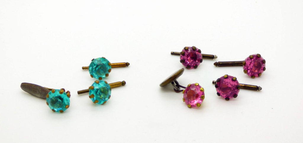 Antique Paste Turquoise and Pink Cufflink and Shirt Stud Sets - Vintage Lane Jewelry