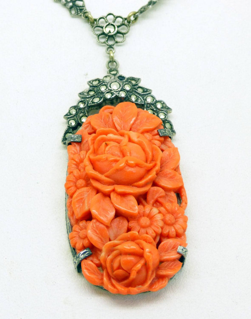 Fine Art Deco Sterling Coral Glass Marcasite Necklace with a Floral Bow Chain - Vintage Lane Jewelry