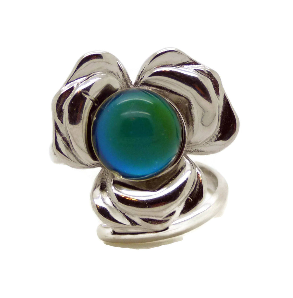 8mm Round Bezel Tray Big Flower 925 Sterling Silver Mood Ring, adjustable - Vintage Lane Jewelry