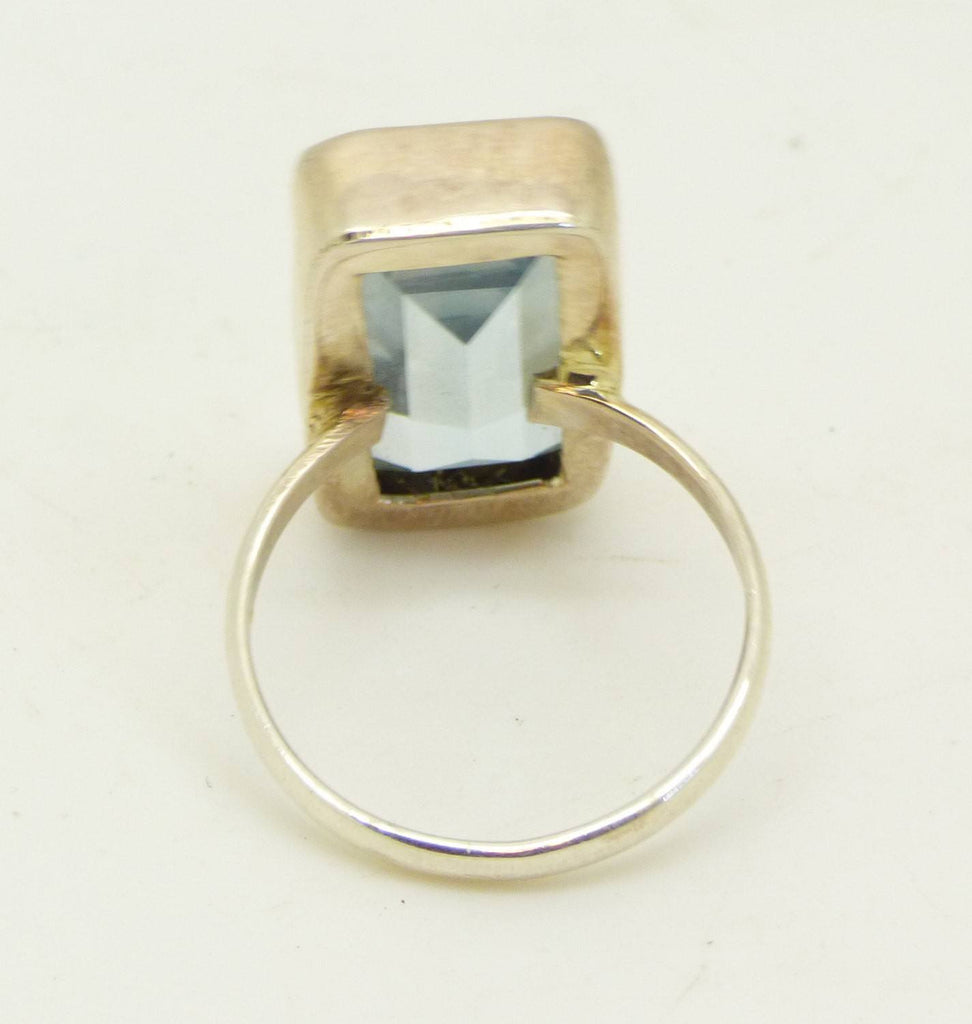 16CT Aquamarine Modernist Sterling Silver Ring - Vintage Lane Jewelry
