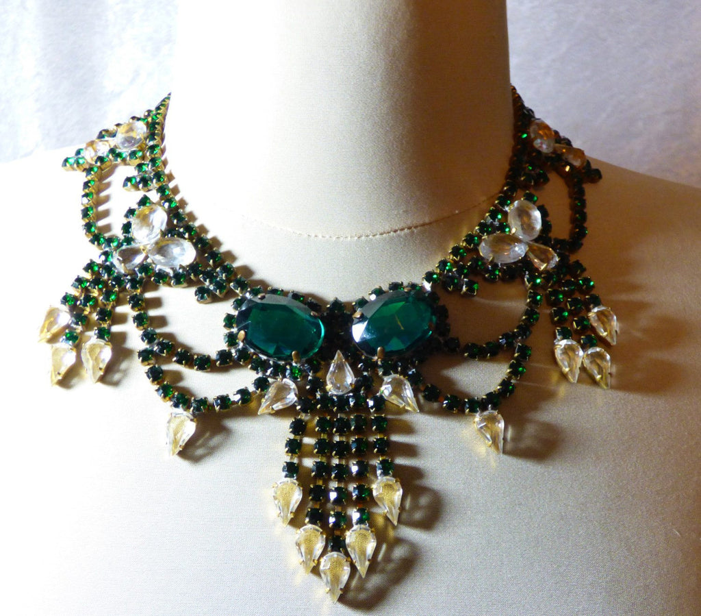 Czech Glass Husar D Green and Clear Statement Necklace - Vintage Lane Jewelry