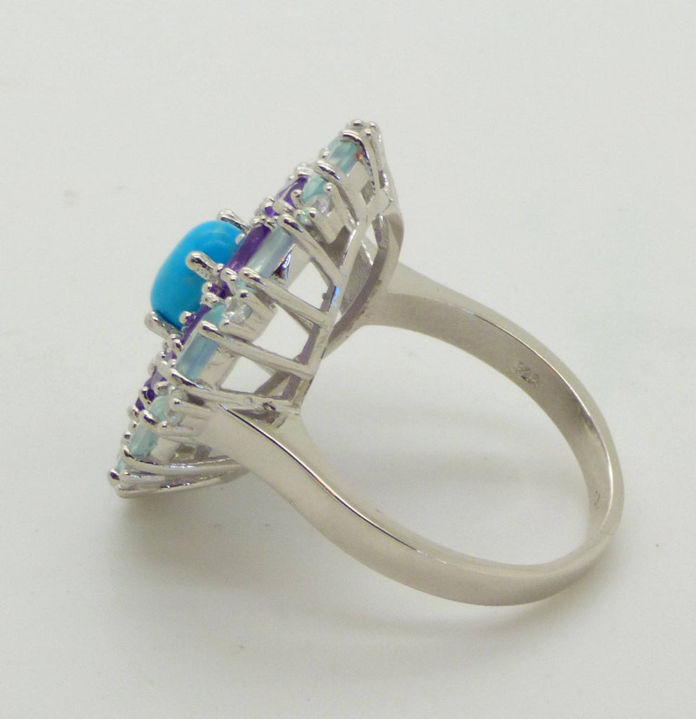 Blue Chalcedony. Amethyst, White Cubic Zirconia, Turquoise 14k White Gold over Sterling Silver Ring - Vintage Lane Jewelry