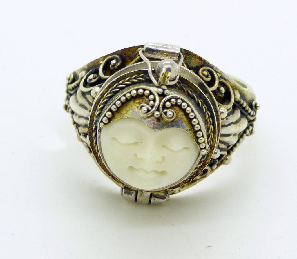 Balinese Bone Sterling Silver 925 Poison Ring Pill Box Ring Size 10 5