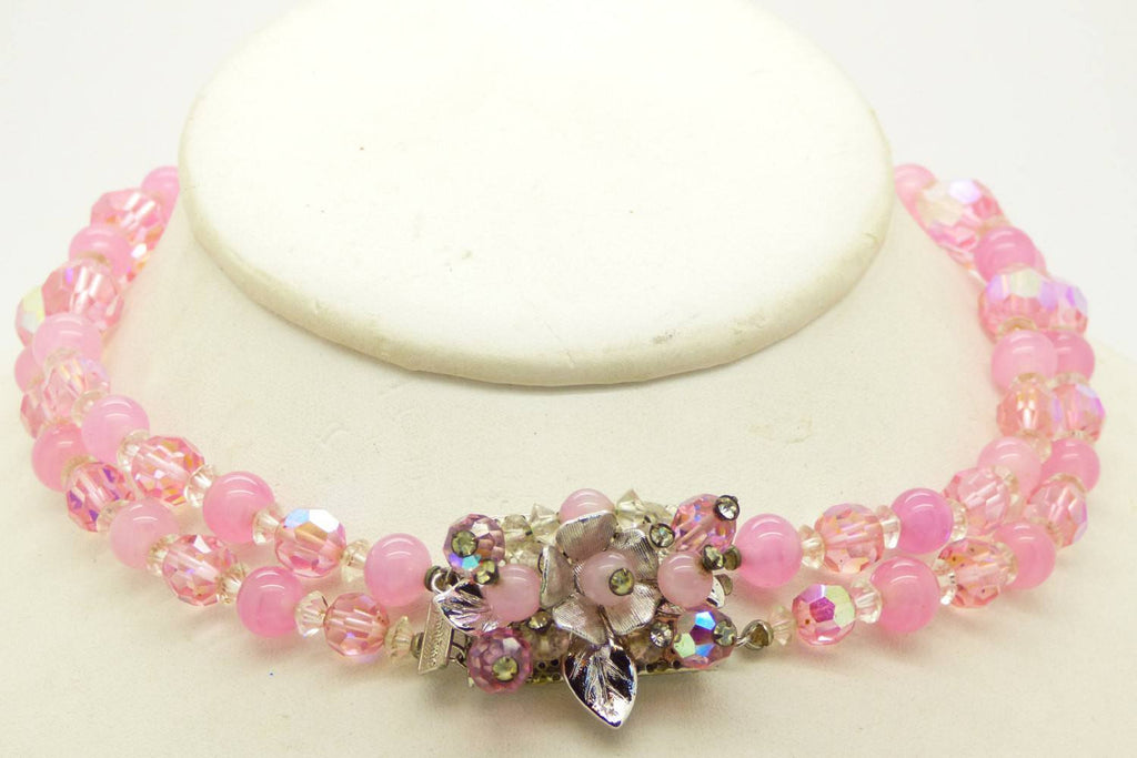 Vendome Pink Crystal Bead Necklace Hand Wired Flower Earrings Set