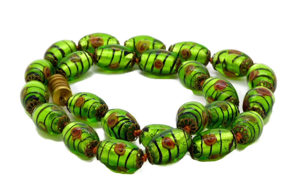 Art Glass Green Foil Flower Striped Glass Beads Necklace - Vintage Lane Jewelry