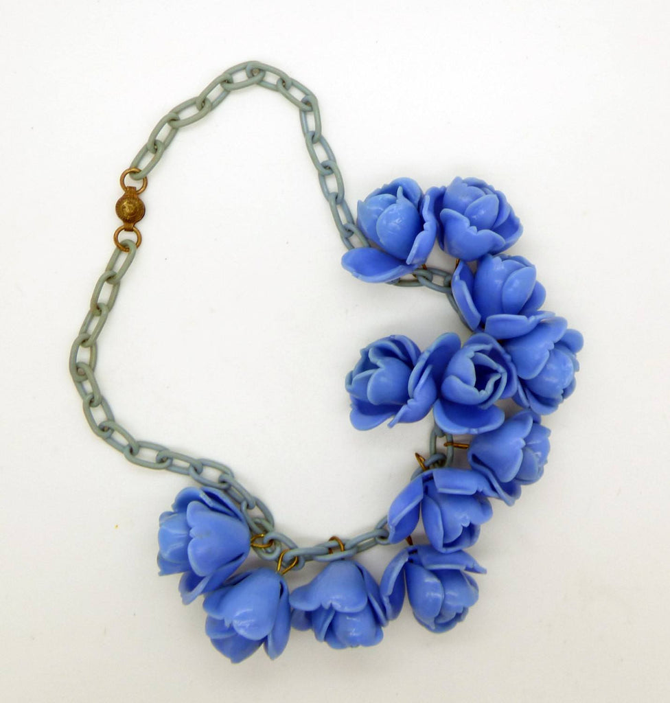 Blue Roses Early Plastic Celluloid Chain Necklace - Vintage Lane Jewelry - 3