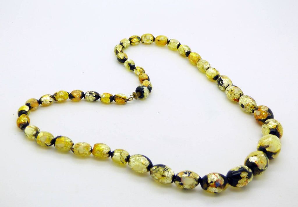 Art Deco Vintage Venetian Murano Black and Gold Foil Glass Beads Necklace - Vintage Lane Jewelry