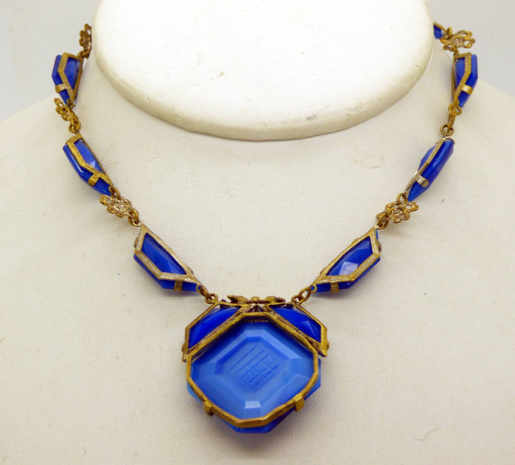 Antique Art Deco Gilt Brass Iridescent Blue Faceted Czech Glass Necklace - Vintage Lane Jewelry