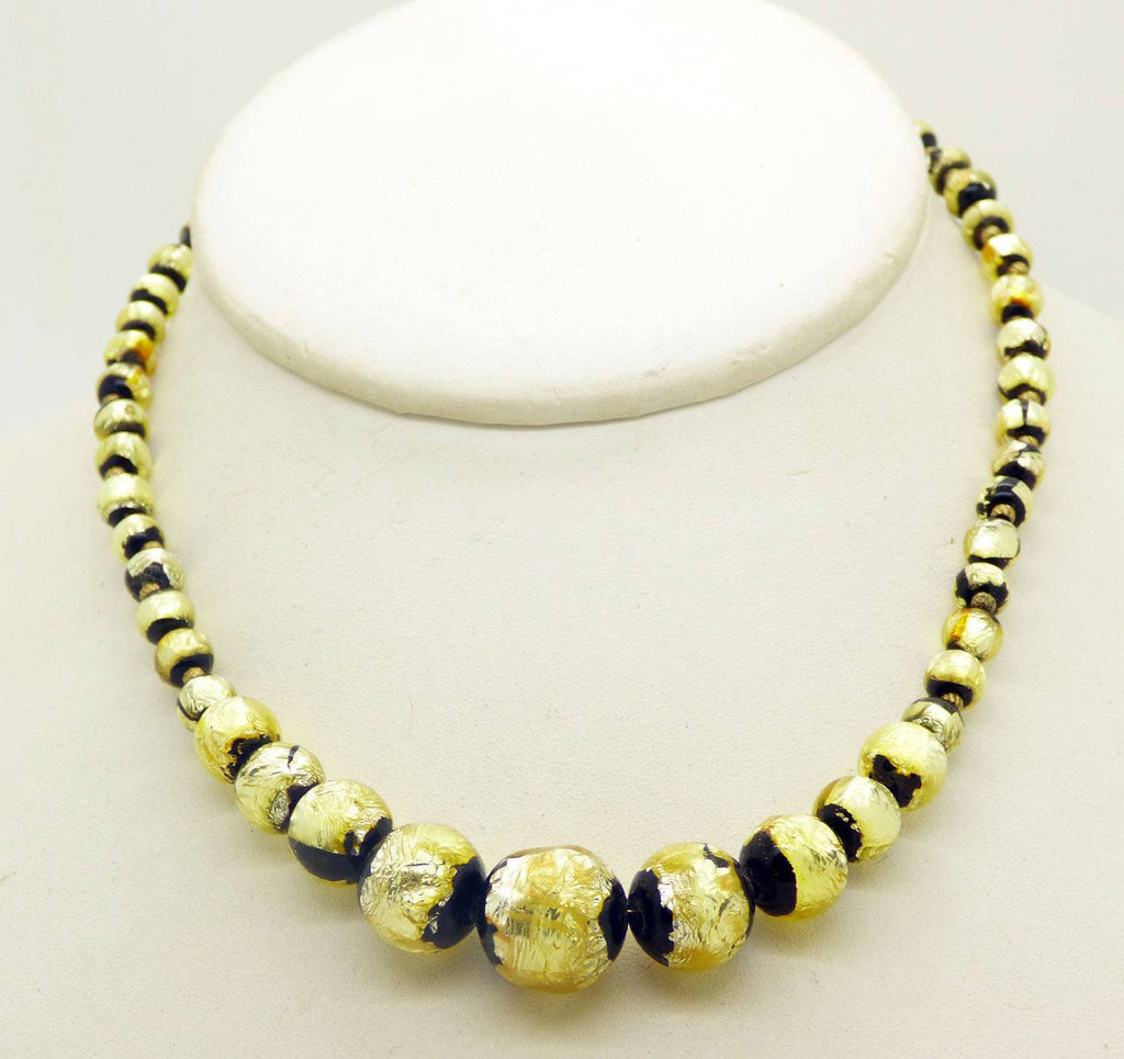 Vintage Venetian Art Deco Gold Foil and Black Glass Graduated Bead Necklace - Vintage Lane Jewelry
