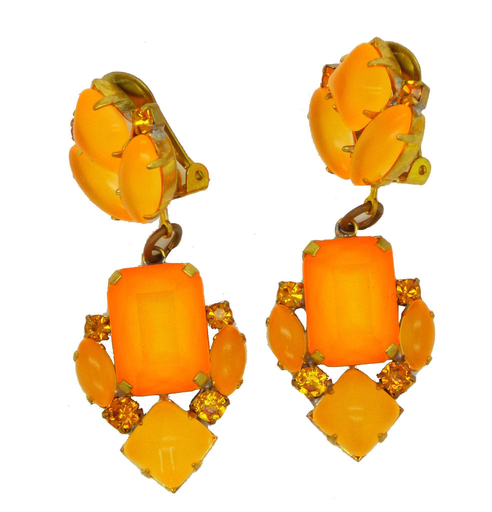 Czech Orange Neon Clip Earrings - Vintage Lane Jewelry