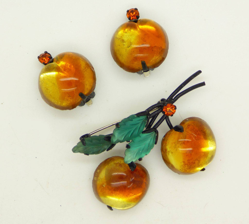 Peach Colored Cherries or Peaches Brooch, Austrian Crystal Fruit Pin Clip Earrings Demi Parure
