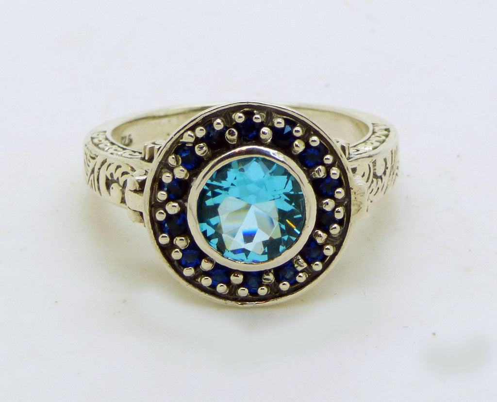 Aquamarine and Blue Sapphire Sterling Silver Art Deco Poison Ring, Size 6 - Vintage Lane Jewelry