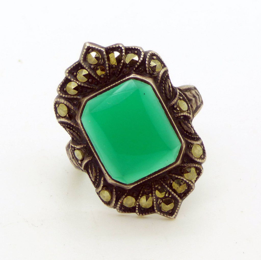 Art Deco Uncas Sterling Silver Chalcedony and Marcasite Ring - Vintage Lane Jewelry