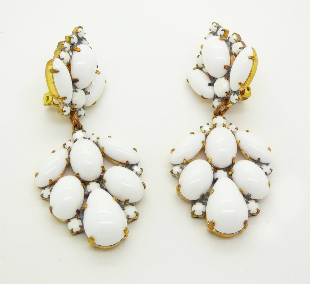 Czech Glass Opaque White Glass Stones Large Dangling Clip Earrings - Vintage Lane Jewelry