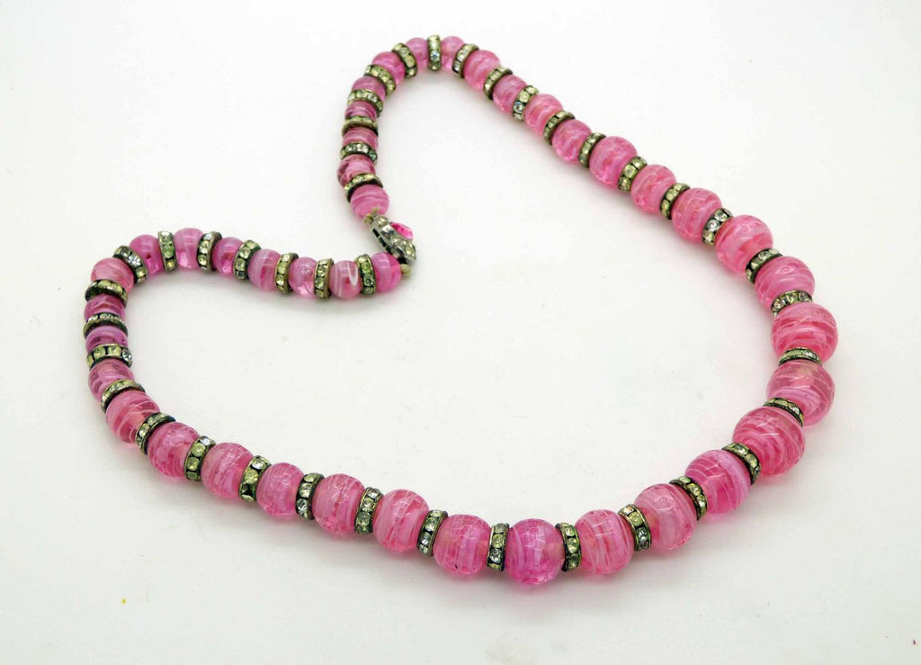 Art Deco Rondelle Rhinestone Givre Art Glass Bead Pink Rose Quartz Necklace - Vintage Lane Jewelry