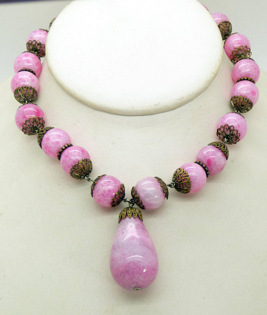 Antique Art Deco Mottled Pink Czech Glass Pendant Collar Necklace - Vintage Lane Jewelry