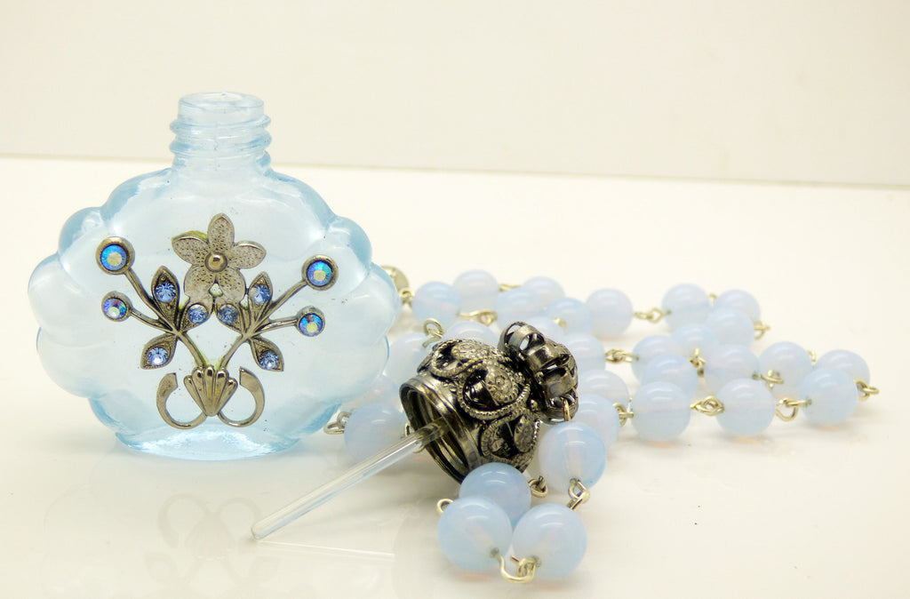 Vintage Czech Glass Lavender Filigree Perfume Bottle Necklace - Vintage Lane Jewelry