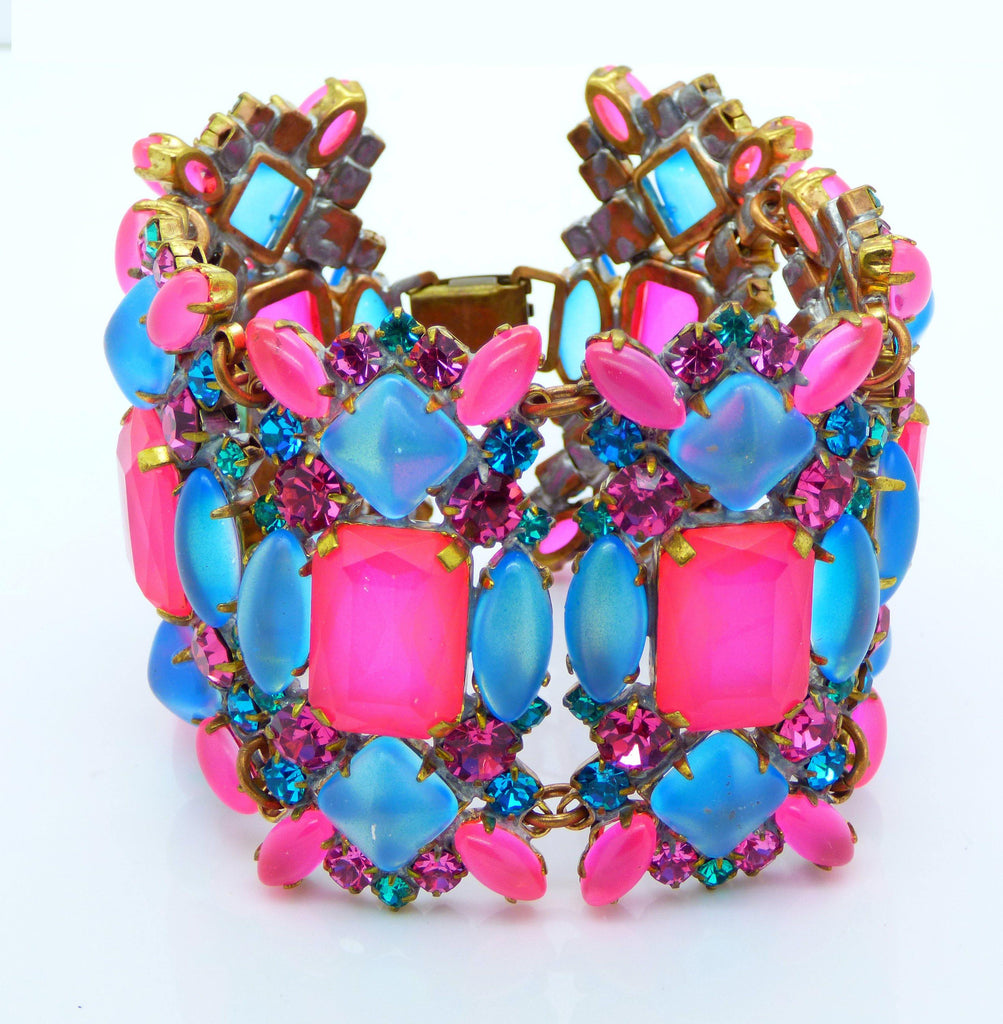 Czech Glass Neon Blue and Pink Wide Bracelet - Vintage Lane Jewelry