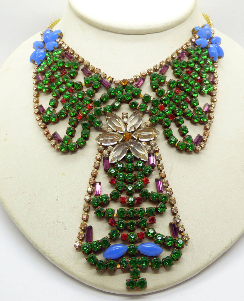 Christmas Czech Glass Husar D. Christmas Trees Necklace - Vintage Lane Jewelry