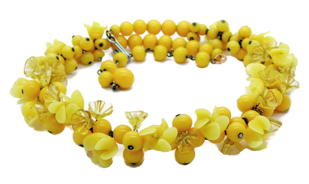 Yellow Glass Flower Beaded Necklace - Vintage Lane Jewelry