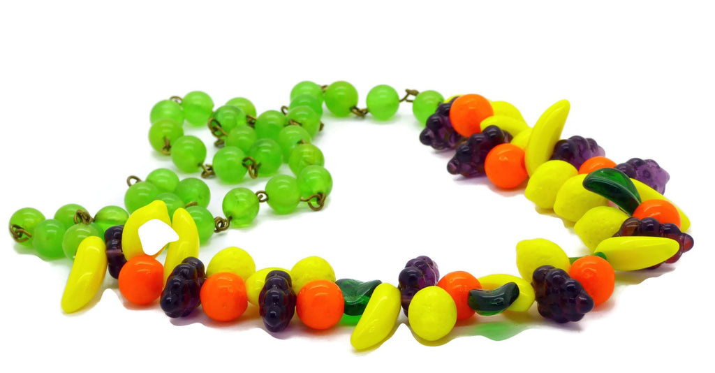 Vintage Glass Fruit Green Bakelite Bead Necklace - Vintage Lane Jewelry