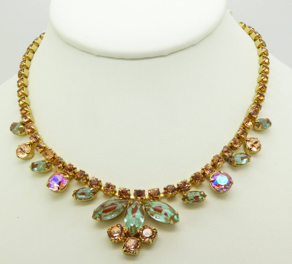 Vintage Saphiret Necklace with Peach Rhinestone - Vintage Lane Jewelry