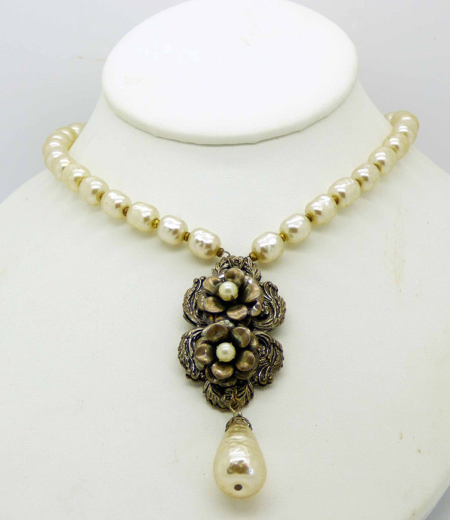 Miriam Haskell Baroque Pearl and Antiqued Silver Floral Necklace - Vintage Lane Jewelry