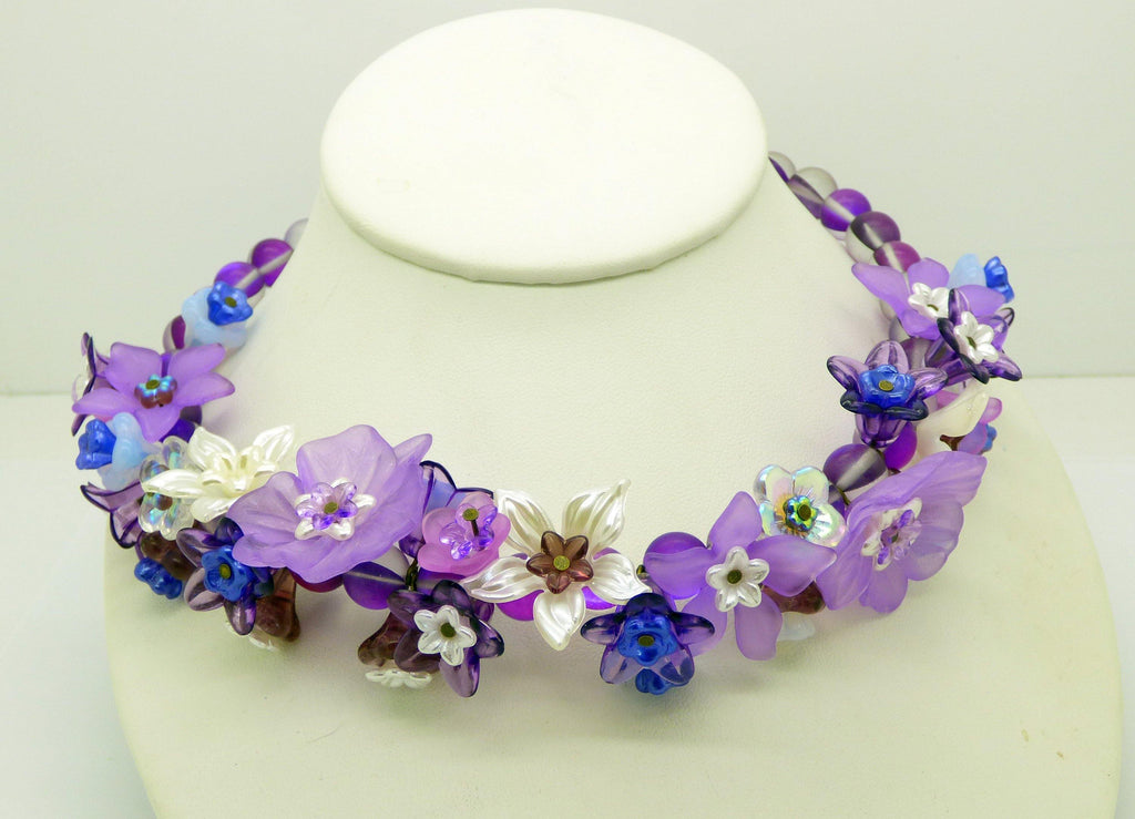 Purple, Lavender Lucite Flowers, Glass Flowers Purple Beaded Necklace - Vintage Lane Jewelry