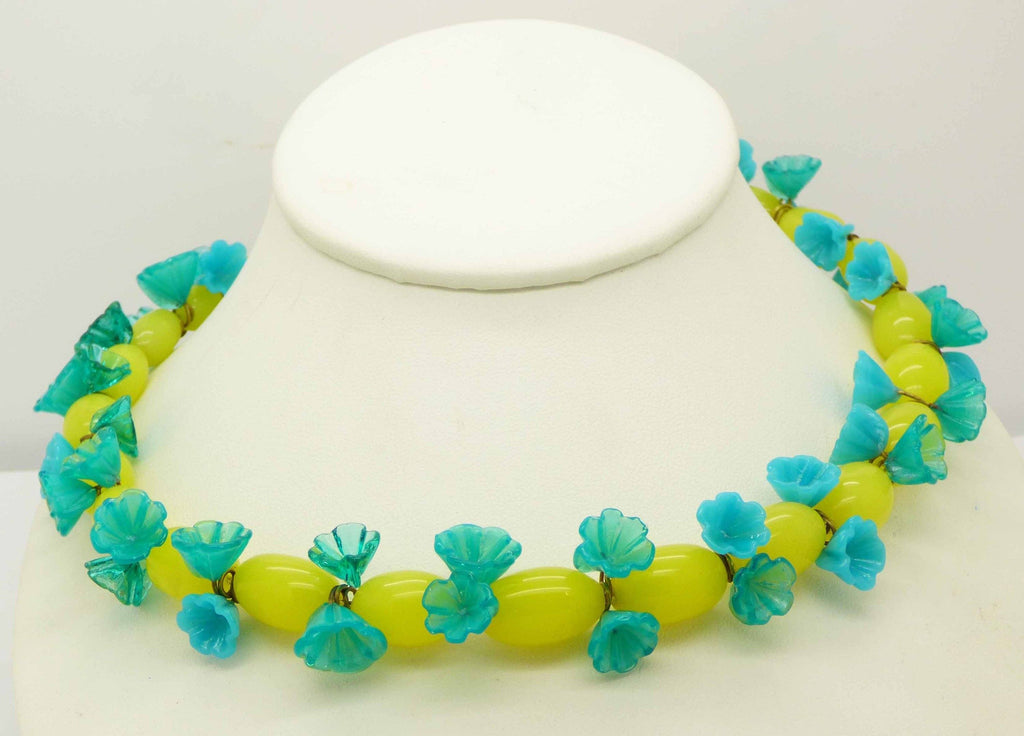 Czech Vaseline Uranium Glass Flower Necklace - Vintage Lane Jewelry