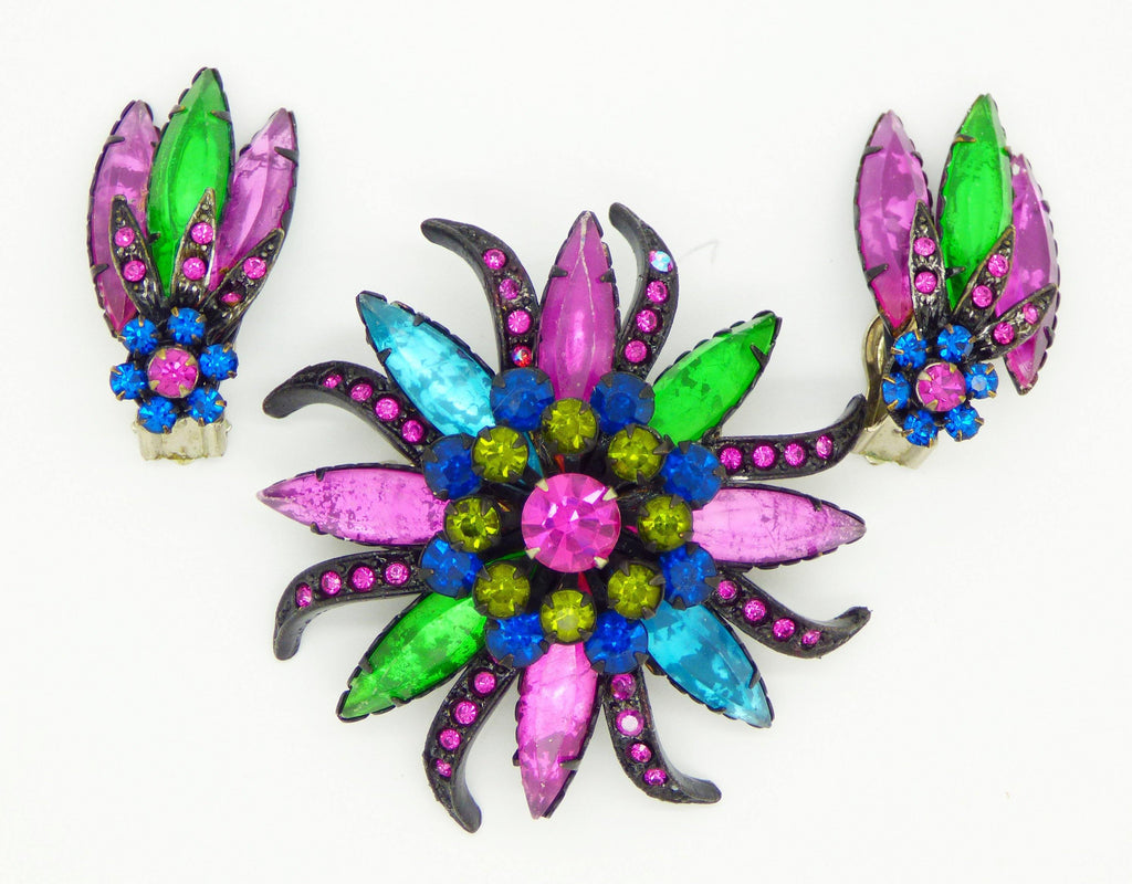 Selini Colorful Rhinestone Demi Parure, brooch and matching clip earrings - Vintage Lane Jewelry