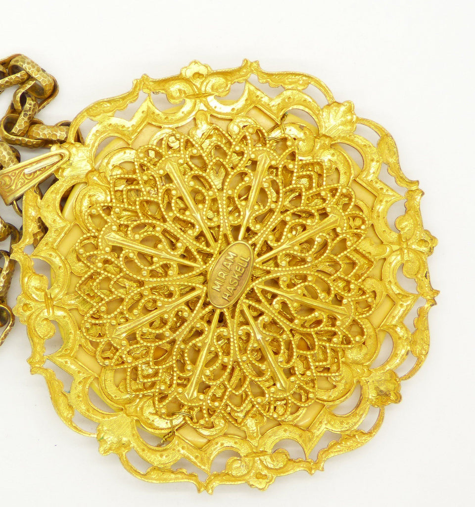 Vintage Miriam Haskell Russian Gold Bakelite Disc Pendant Necklace - Vintage Lane Jewelry