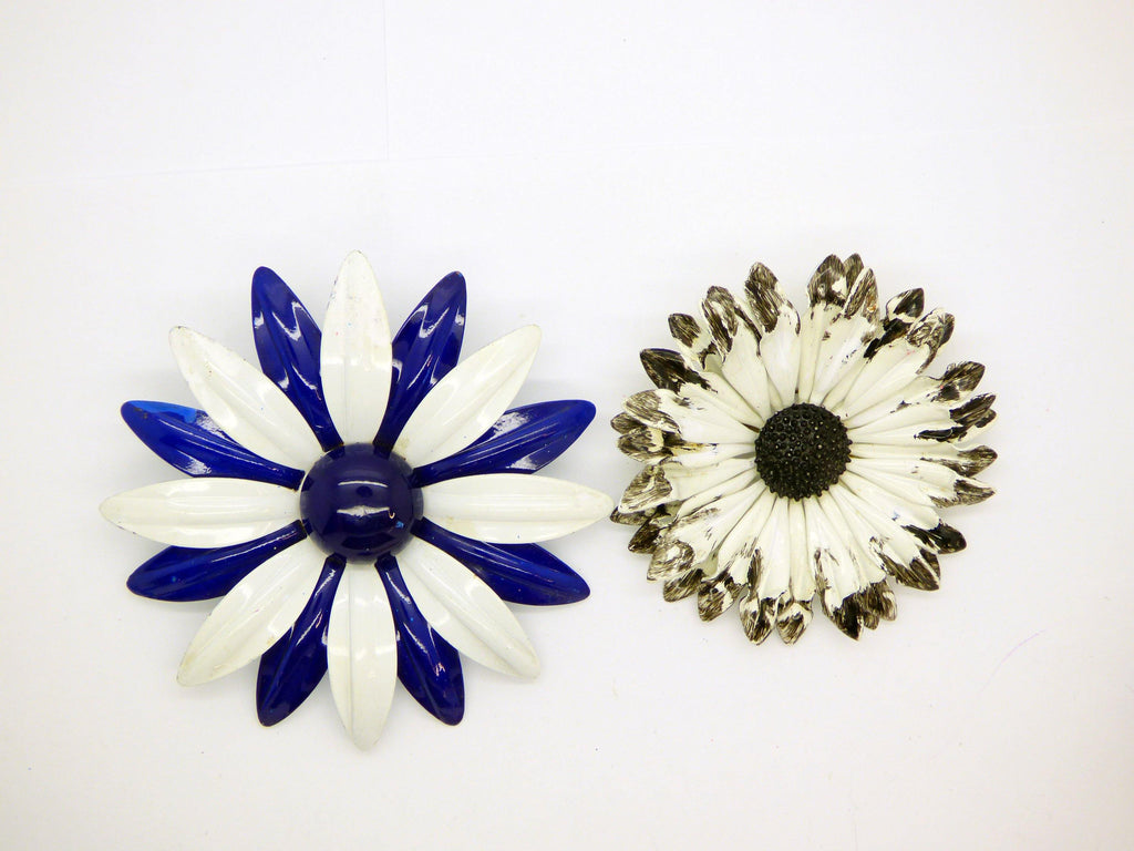 Enamel Flower Lot, 7 pins, Flower Brooches, purple, pink - Vintage Lane Jewelry