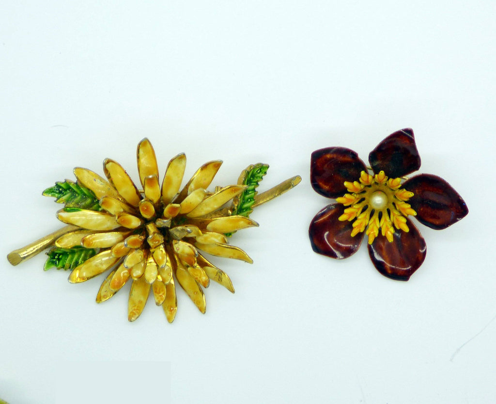 Enamel Flower Lot, 10 pins, Flower Brooches - Vintage Lane Jewelry