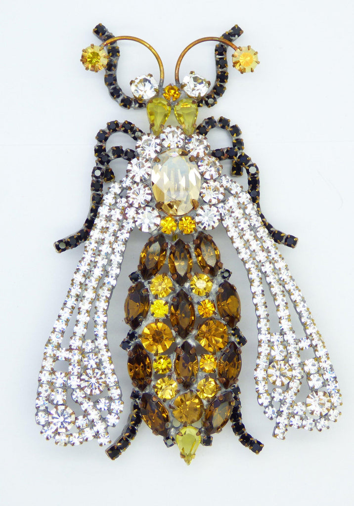 Huge Czech Glass Rhinestone Hornet Brooch, Figural Pin - Vintage Lane Jewelry