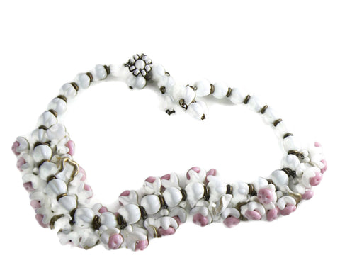Art Deco Rondelle Rhinestone Givre Art Glass Bead Pink Rose Quartz Necklace