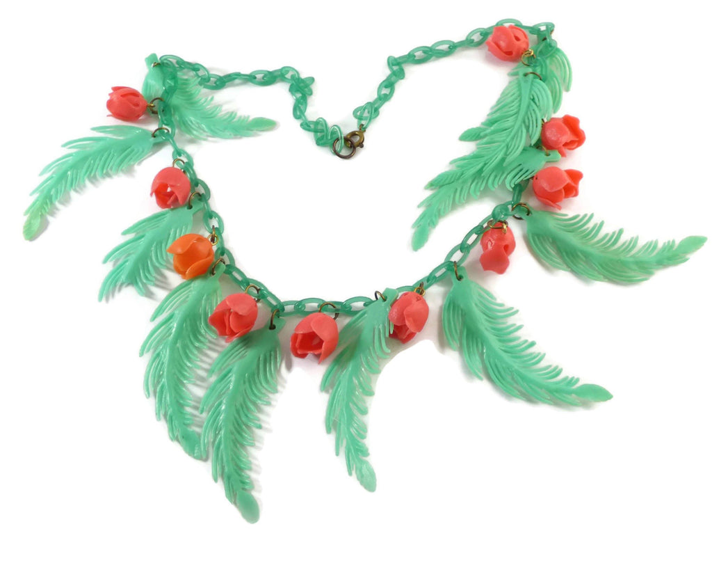 Vintage Early Soft Plastic Celluloid Leaves and Roses Necklace - Vintage Lane Jewelry