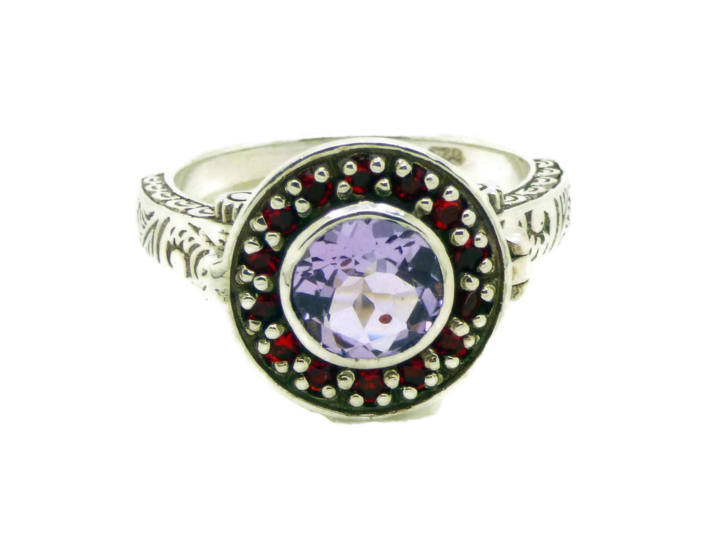 Amethyst and Rubelite Sterling Silver Art Deco Poison Ring, Size 6 - Vintage Lane Jewelry