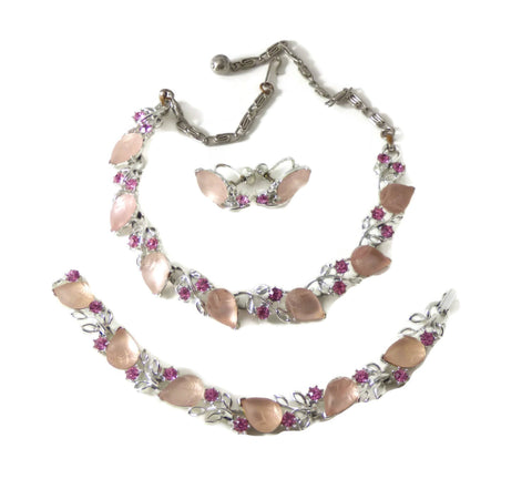 Vintage Thermoset Pearly Pink and Purple Necklace, Bracelet, Clip Earrings