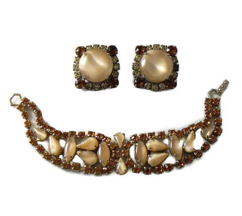 RootBeer Rhinestone Bracelet And Earrings