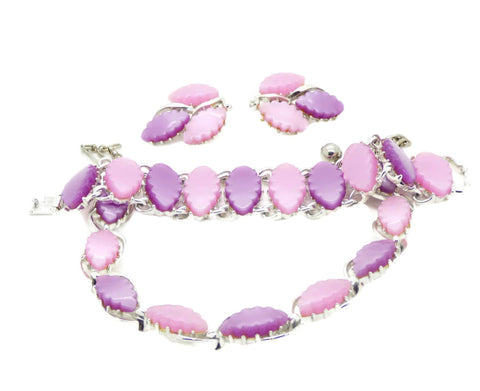 Rhinestone Pink Lucite Selro Bracelet Earrings
