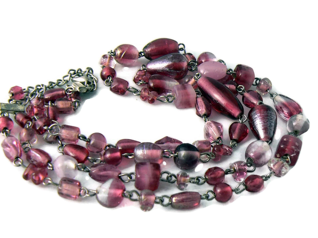 Vintage 2 Strand Purple Givre Murano Glass Necklace - Vintage Lane Jewelry