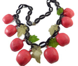 Vintage Early Plastic Apples and Leaves Necklace, Black Lucite Chain, Big Red Apples - Vintage Lane Jewelry